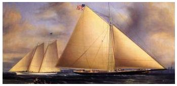 The Sloop Maria Racing the Schooner Yacht America - by James E. Buttersworth