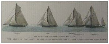 "The Yacht ""Thistle"" Taking the Lead - Published in Harper's Weekly, New York."
