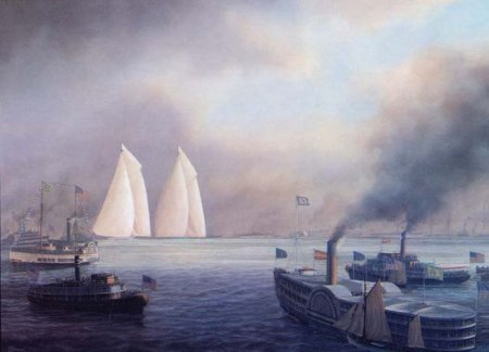 COLUMBIA V. SHAMROCK I, 1899 by Tim Thompson