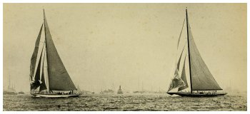 Enterprise (left) and Shamrock V forty seconds before start of first race