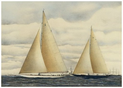 The 1934 Match. Rainbow assuming the lead from Endeavour in the third race of the 1934 Match on September 20th off Newport, R.I., just before the latter tacked for the third time after rounding the mark. By Robert F. Paterson.
