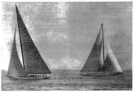 The New York Times - RIVAL AMERICA'S CUP BOATS AT FIRST MARK IN TRIAL OFF NEWPORT. Rainbow (right) just after turning buoy. She is shown at end of initial leg of triangular course in test with Yankee monday.
