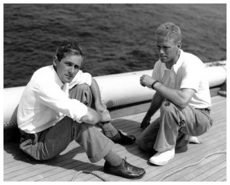 Ernest Ratsey (left) and Rod Stephens (right) aboard Ranger. From the Edwin Levick Collection.
