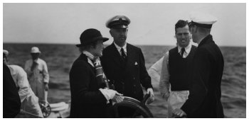 Mr. and Mrs. T.O.M Sopwith aboard the yacht with Frank Murdoch. From the Edwin Levick Collection.